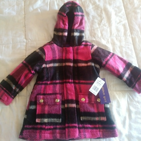 ab1b22e9b9c Madden Girl Jackets & Coats | 2t Faux Wool Pink Plaid Coat | Poshmark
